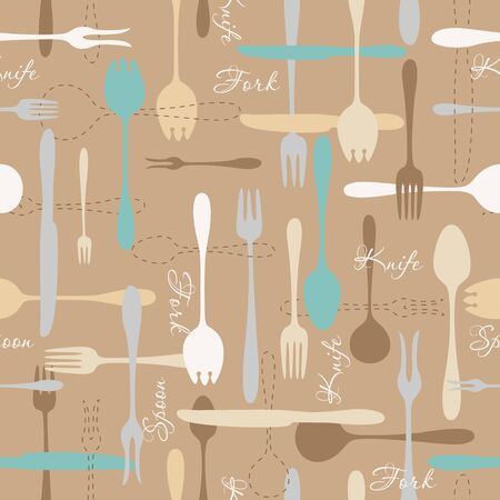 fork knife spoon: Cutlery icon beige seamless pattern. Fork, knife, spoon silhouettes and contours on brown background