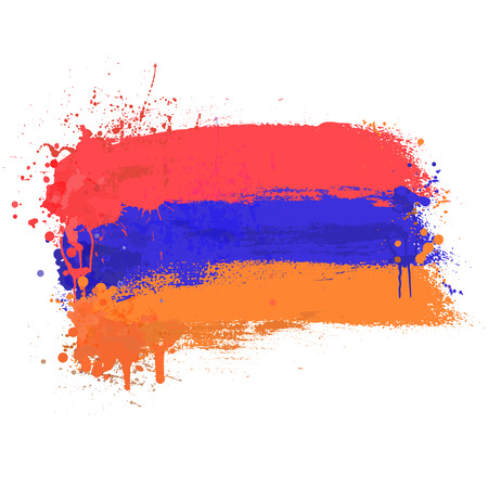 yerevan: Brush painted abstract flag of Armenia. Hand drawn style illustration with a grunge effect and splashes on white background