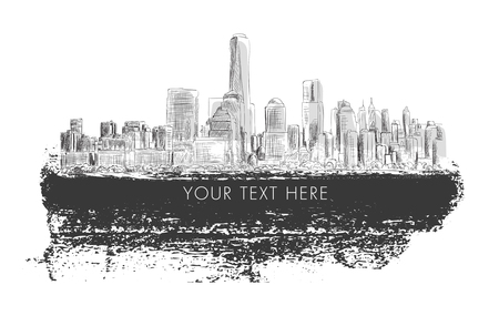 New York city, vector  monochrome drawing in sketch outline style with grunge banner for text. Very useful for poster, banner, travel