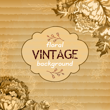 ribbed: Vector  beige clean ribbed cardboard texture with vintage flowers. Floral background for your design