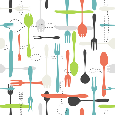 knife and fork: Cutlery icon seamless pattern. Fork, knife, spoon silhouettes and contours in different sizes and colors on white background Illustration