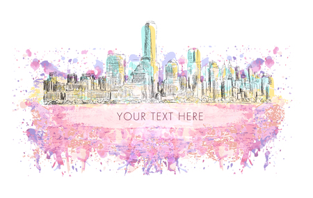New York city, vector drawing with grunge banner on colorful watercolor background. Very useful for poster, banner, travel Illustration