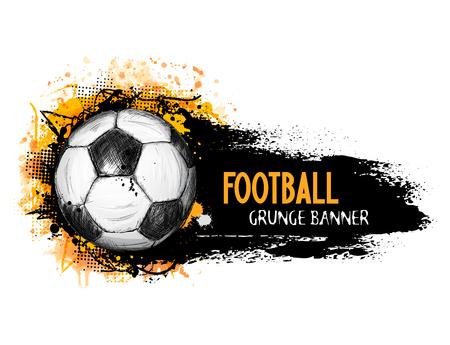Banner de grunge vector dibujado a mano con balón de fútbol, composición elegante y fondo acuarela naranja, en estilo doodle