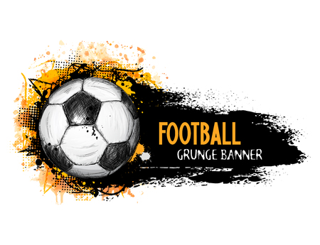 Hand drawn vector grunge banner with soccer ball, stylish composition and orange watercolor background, in doodle style Ilustração