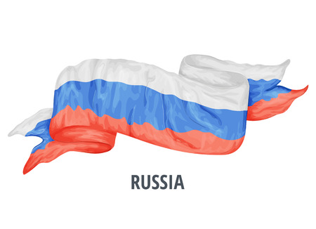 Waving flag of Russia. Vector illustration drawed in cartoon colorful style
