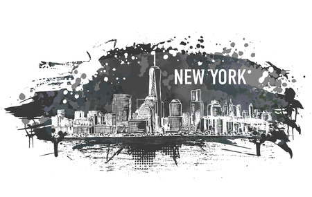 New York city, vector monochrome drawing in sketch style in grunge and watercolor shape. Very useful for poster, banner, travel