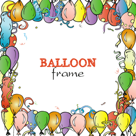 Vettore vacanza cornice con multicolore disegnate a mano palloni ad aria. Cartoon sfondo colorato. Design per carta auguri di compleanno, decorazione di festival, carta regalo, manifesto del partito