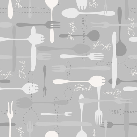 fork knife spoon: Cutlery icon monochrome seamless pattern. Fork, knife, spoon silhouettes and contours on gray background Illustration