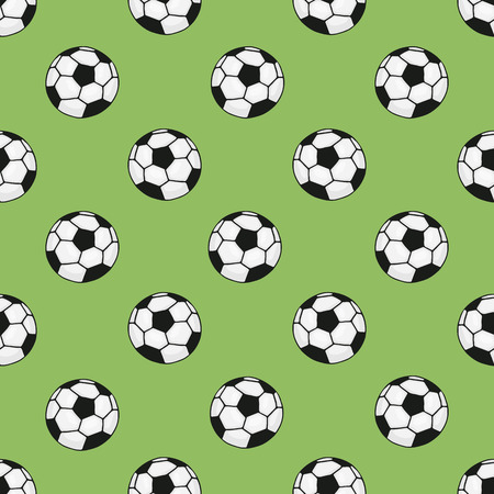 tourney: Seamless pattern with cartoon soccer balls  for sports themes decoration on green background Illustration