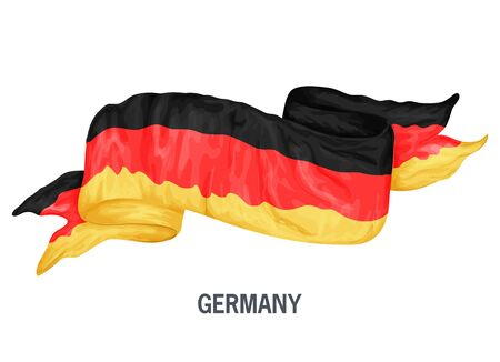Waving flag of Germany. Vector illustration drawed in cartoon colorful style