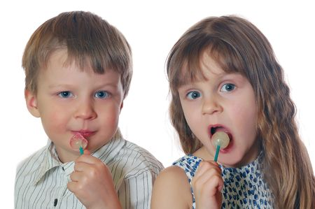 friends with lollipops Stock Photo - 4266956