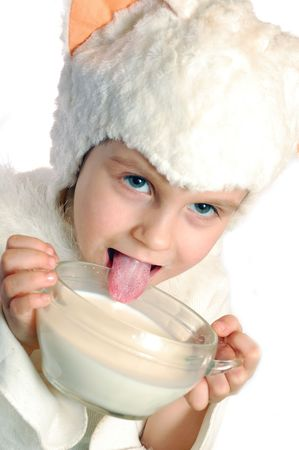 licking milk Stock Photo
