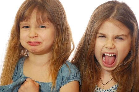 furious: girls making faces Stock Photo