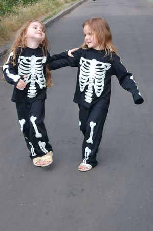 cute halloween: Costuming Skeletons Stock Photo