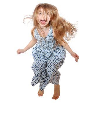 salto largo: overjoy salto Foto de archivo