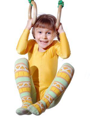 girl with rings: sports fun  Stock Photo