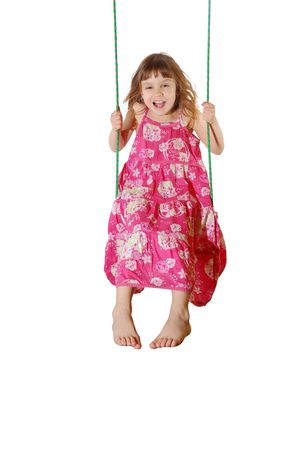 exhilaration: Happy Swinging Girl