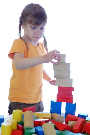 girl playing with blocks Stock Photo - 4815917