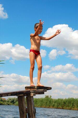 skin diving: water river summer fun Stock Photo