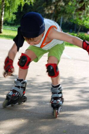Rollerblading. Falling down. Stock Photo - 4977464