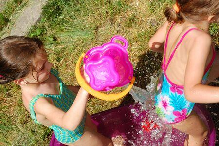 sincere girl: hot weather weather-fun in bathtub Stock Photo
