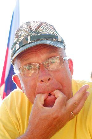 Senior sports fan whistling outdoor. High key. Stock Photo - 5351326