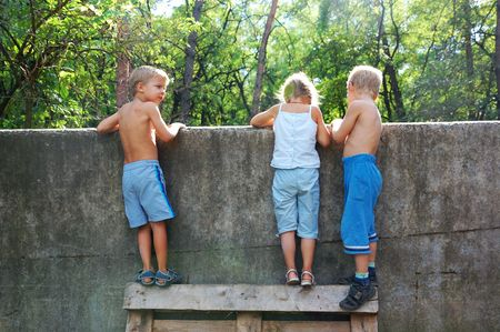old fence: three 5-6 year old kids looking over the fence Stock Photo