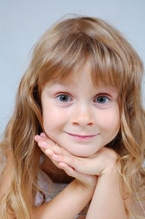 long shots: portrait of a cute 5 year old Caucasian girl Stock Photo