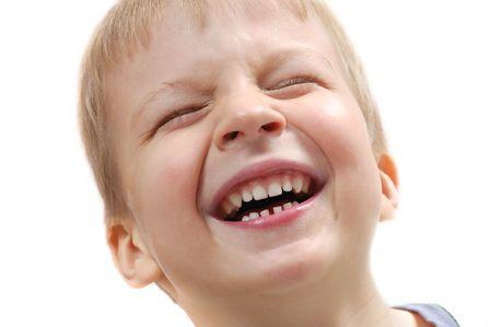 cara de un lindo ni�o riendo Rubio de 5 a�os Foto de archivo - 5999818