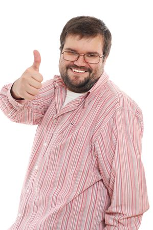 big shirt: happy casual man with his thumb up Stock Photo