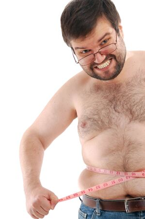 hairy arms: angry big man measuring his belly against the white background