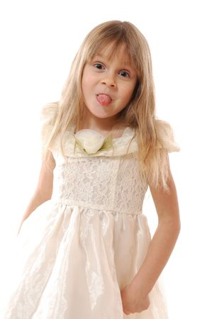 little cheerful girl sticking her tongue out Stock Photo - 6104780