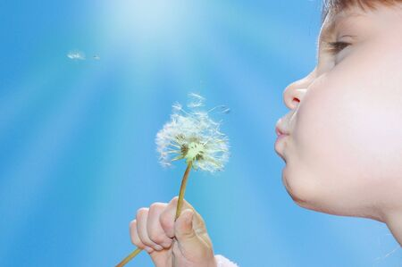 child blowing away dandelion seeds in the blue sky Stock Photo - 6284662