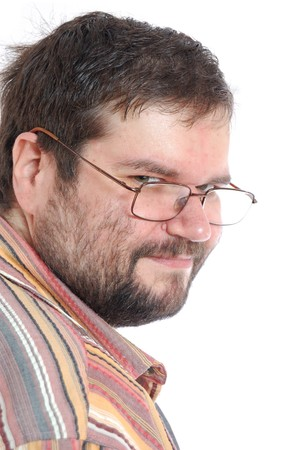 portly: thoughtful adult man with glasses over white Stock Photo