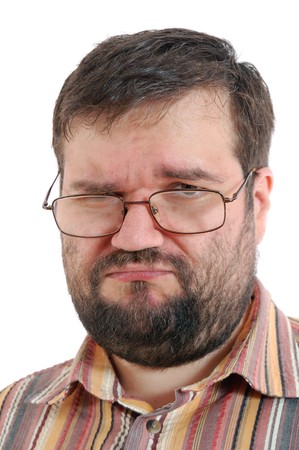 unpleased adult man with glasses over white photo