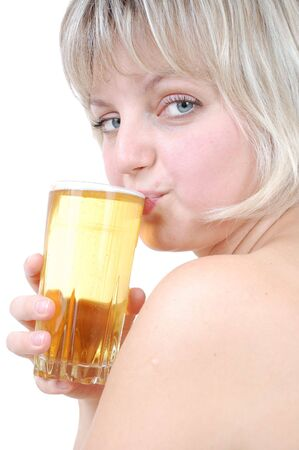 Portrait of a young beautiful blond girl drinking beer. Isolated over white. photo