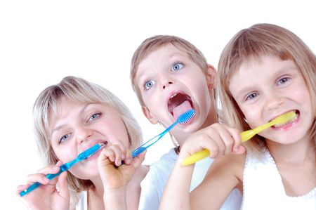 family cleaning  teeth over white background photo