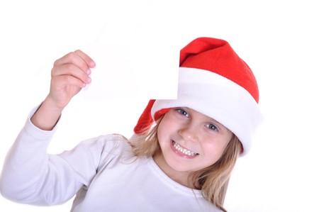 little happy girl wearing a Santa Clause hat Stock Photo - 8165896