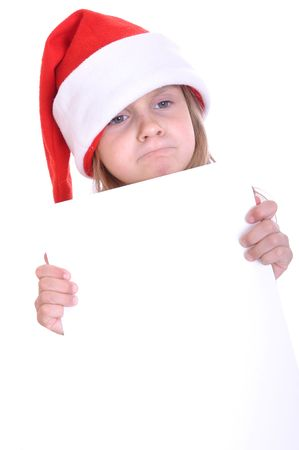 little girl wearing a Santa hat with a banner photo