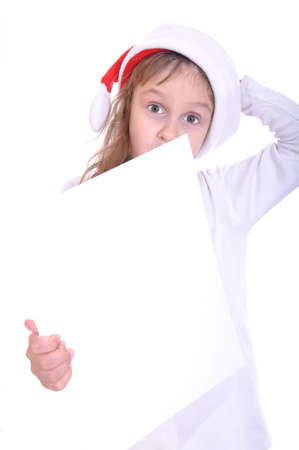 foretaste: Santa child with a white banner. Isolated over white.