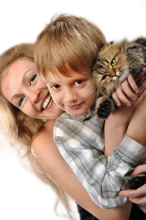 portrait of a happy familyr with a cat photo