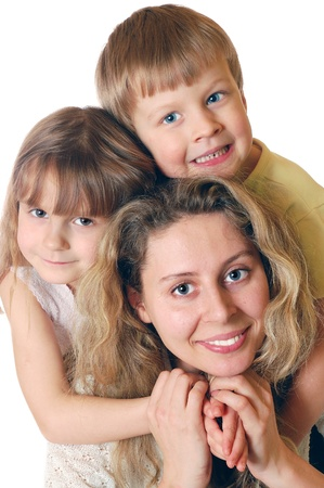 offsprings: portrait of a woman with two kids Stock Photo