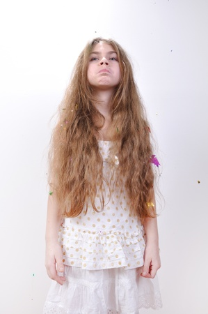 Adorable girl with waist line long loose hair photo