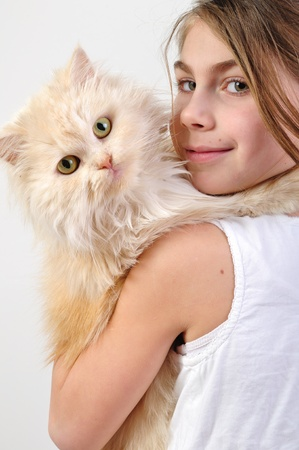 close-up portrait of a little girl with a Persian breed cat photo