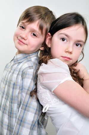 close-up portrait of boy and girl friends photo