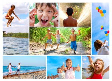 outdoor activities: happy smiling and laughing children outdoor in summer