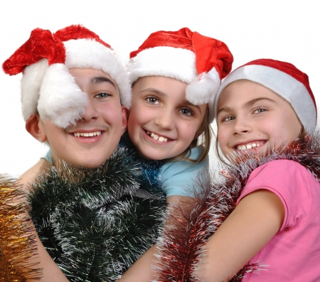 group of happy young friends celebrating Christmas photo