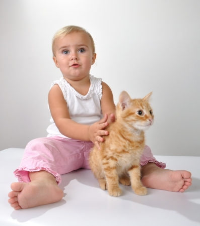 smiling cat: adorable beautiful cute toddler child plays with a cat
