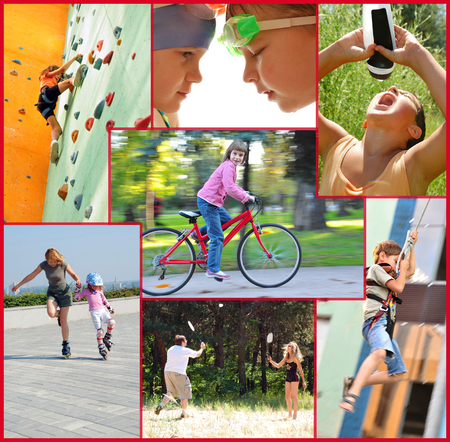 photo collage of active people children and adults doing sports activities Stock Photo