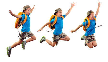 sequence of  child with backpack and a cap jumpingm running, waving with his hand and shouting. Isolated over white background